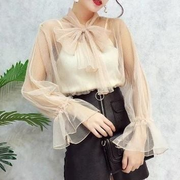 Womens New fashion blouse transparent mesh blouse bow tie collar