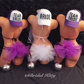 Bachelorette Party Booty Veil Team Bride Tribe Squad Trucker Hats Set Bridal Bikini Bridal Shower Party Cup Tumbler Bride Tribe Bridesmaid