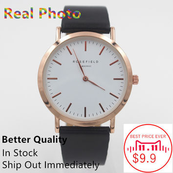ROSEFIELD 2016 Classic Leather rose gold Clock Women Quartz Watch Lovers Jelly Casual ladies woman Relogio Feminino Wristwatches