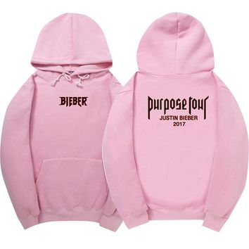 New Winter Fleece Justin Bieber  men and woman Hoodies & Sweatshirts Pure Cotton Single  Men Hoodies Purpose Tour