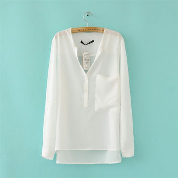 Chiffon V-neck Irregular Pure Color Casual Blouse