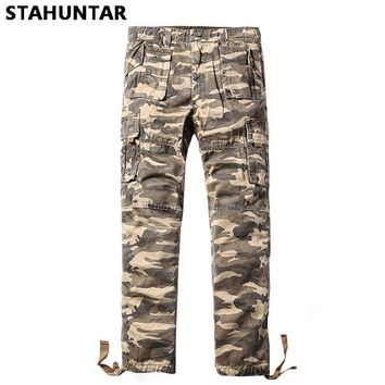 Summer Cotton Male Trousers Camouflage Military Zipper Men Cargo Button Pants Pockets Casual Tactical Khaki Camo Pants Men