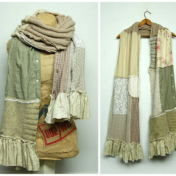 Shabby Chic Scrappy Scarf Mori Girl Tattered Linen Scarf Patchwork Scarf Upcycled Scarf Anthropologie Style Neck Wrap by Primitive Fringe