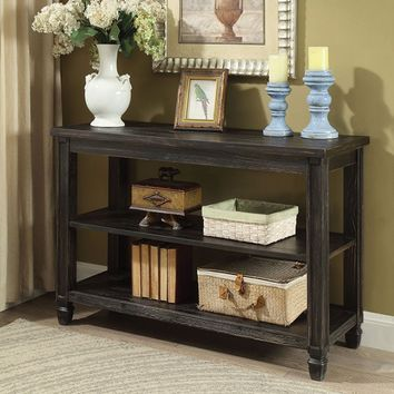 Furniture of america CM4615BK-S Suzette antique black finish wood sofa table