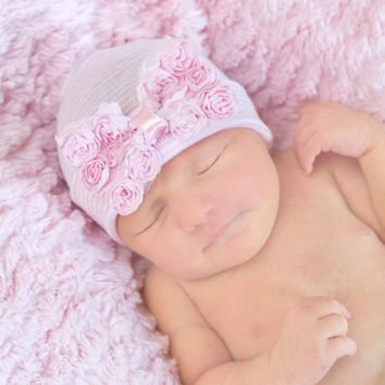 Pink Blue Baby Infant Beanie Cap Hospital Hat Flower Baby Take Home Hat Perfect Newborn Gift Baby Hat SW121