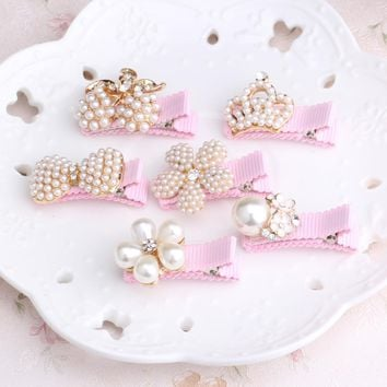 M MISM 1pc Girls Hair Accessories Delicate Pearls Hairpins Crown Flower Shaped BB Pink Hair Ornament Princess Headwear Hair Clip