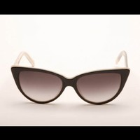 Tres Noir Sunglasses - Ultra Lux Black and White Pearl Cats Eye | Pinup Girl Clothing