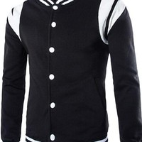 jeansian Men's Fashion Stitching Single Breasted SweatShirt Coat 9369