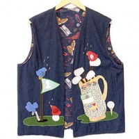 DIY Handmade Golf Theme Ugy Denim Vest Unisex Size 2X (Men's or Women's) $12 - The Ugly Sweater Shop