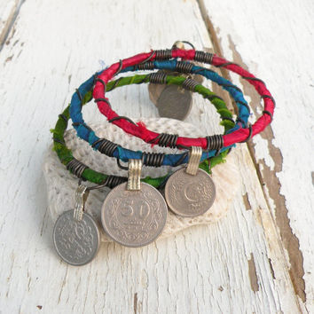 Silk Road Gypsy Bangle Stack, 3 Bohemian Tribal Bracelets, Silk Wrapped, Turquoise, Red, Lime Green