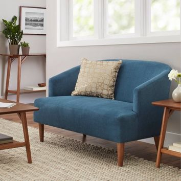 Better Homes and Gardens Reed Mid Century Modern Loveseat, Teal - Walmart.com