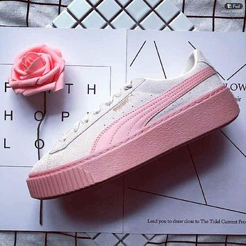 Puma Suede Platform Pink Grey 363559-12 Sneakers Fashion Shoes