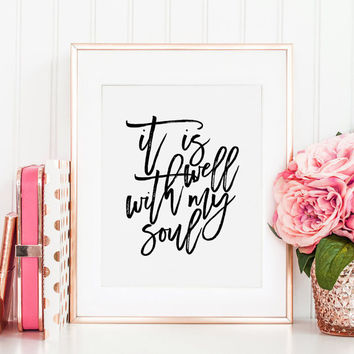 AUDREY ASSAD LYRICS, It Is Well With My Soul, Nursery Decor, Bible Verse,Scripture Art,Bible Cover,Quote Prints,Typography Poster,Quote Art