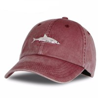Washed Out Shark Embroidery Snapback