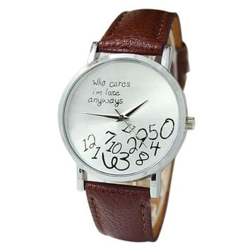 """""""Who Cares I'm Late Anyways"""" Women's Brown Creative Fashion Faux Leather Quartz Watch"""