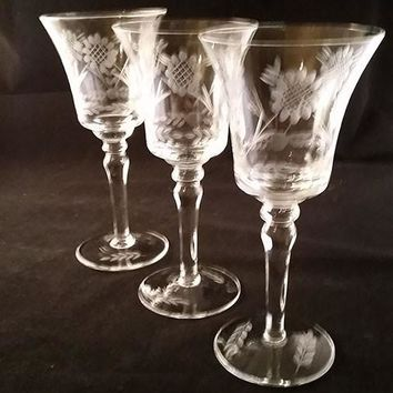 Wheat Flower and Leaf Etched Stemware S/3