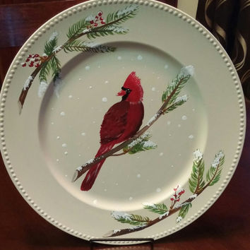 Decorative plate, winter plate, Christmas decor, hand painted plate, decorative platter, holiday plate, red cardinal plate, holiday decor