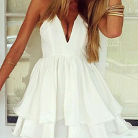White Chiffon Spaghetti Strap V-neck Sheath Ruffled Layer Mini Skater Dress