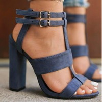 Strappy Suede Block Heel Sandals 3 Colors