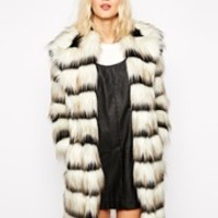 River Island Black & White Faux Fur Coat at asos.com