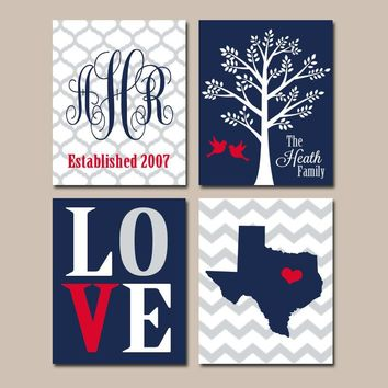 Family Tree State Wall Art, CANVAS or Prints, Custom Family Monogram Initials, Personalized Wedding Gift, Navy Red, Chevron State Set of 4