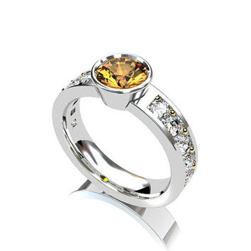 Imperial topaz engagement ring, white gold, yellow gold, golden yellow topaz, white sapphire ring, unique, bezel, solitaire