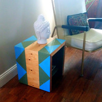 GEOMETRIC PAINTED MODERN Side Table - Modernist Cube Salvaged Wood End Table - One of a kind - Ready to ship - Storage Shelf - Blue & Green