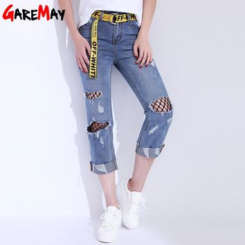Women Jeans With Holes Denim Pants Capri Ripped Curling Jeans Female Net Casual Belt Distressed Jeans Vaqueros