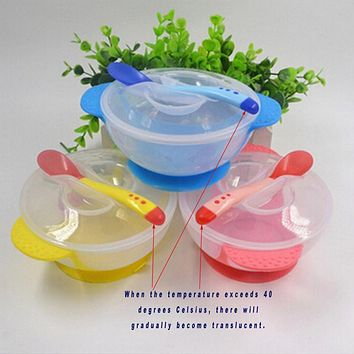 1Set Baby Learning Dishes With Suction Cup Assist Food Bowl Infant Temperature Sensing Feeding Baby Tableware IC879616
