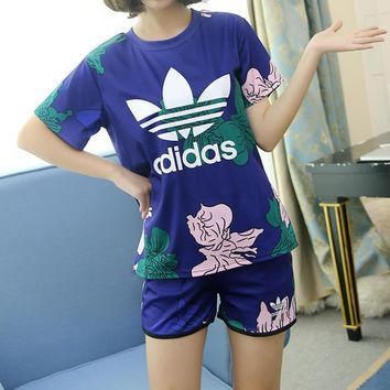 """Adidas"" Women Casual Multicolor Flower Print Short Sleeve Shorts Set Two-Piece Sports"