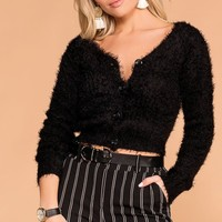 Heartbeat Black Fuzzy Button-Up Cardigan Top
