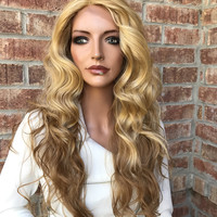 """Jessica Light Blond Waves Lace Front Wig 18"""""""