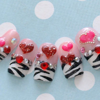 Japanese 3D fake nails, zebra printed french tips with 3D hearts and gems