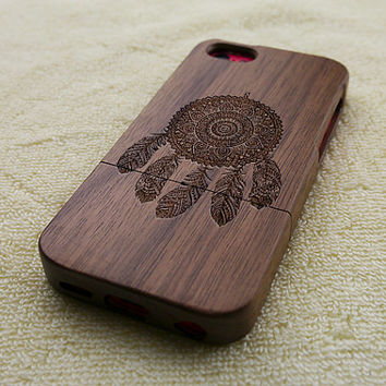 Wood iPhone 5C case, wooden iPhone 5C case, dream catcher iPhone 5C case, dreamcatcher iPhone 5C case, wooden iPhone case, W3009