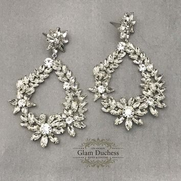 Bridal Chandelier Earrings, Leaf Floral Crystal Bridal Earrings