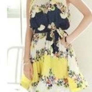 1313 slims chiffon women maternity clothing one-piece tank dress plus size one-piece casual dress pregnant clothes/wear (Color: Yellow) = 1958038980