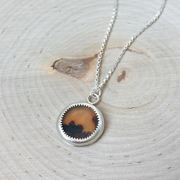 New! Unique, Orange Dendritic Agate Pendant in .925 Sterling Silver with Rolo Chain, Tiny Medallion Necklace, Fern Agate, Gemstone Bezel