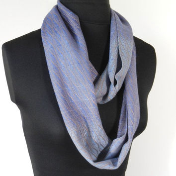 Shades of Blue Circle Scarf, Blue Fade Handwoven Infinity Scarf