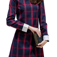 Cute Red Vintage Plaid Dress With Peter Pan Collar