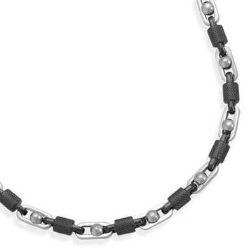 """22"""" Alternating Stainless Steel and Textured Barrel Link Necklace"""