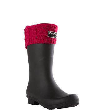 ROMA Women's Short Raspberry Cable Knit Boot Liner