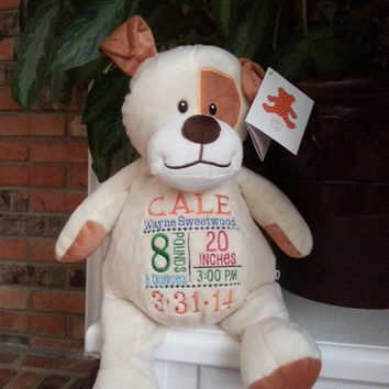 Embroidered puppy dog- Birth announcement gift - Embroider buddy - EB - stuffed puppy - stuffed animal