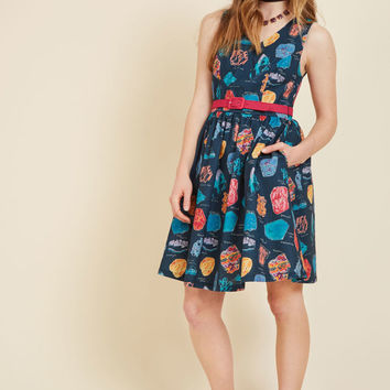 Zest of the Bunch A-Line Dress in Geodes