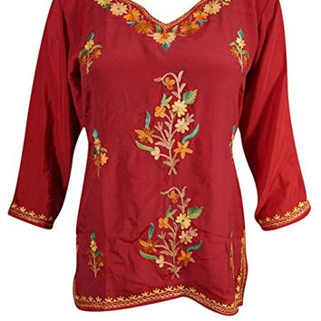 Mogul Womens Indian Tunic Top Kashmiri Floral Embroidered Silk Boho Ethnic Shirt Blouse