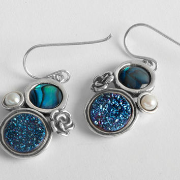 Sterling silver druze dangle earrings Israeli handwork jewelry
