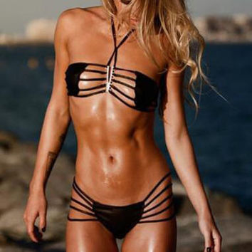 Hollow Out Solid Color Bandage Bikini Swimsuit Swimwear