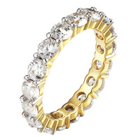 925 Silver Eternity Ring Women Engagement Band Ring Solitaire 14k Gold Tone