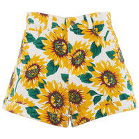 ROMWE | Sunflowers Print White Denim Shorts, The Latest Street Fashion