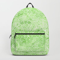 Greenery and white swirls doodles Backpacks by Savousepate