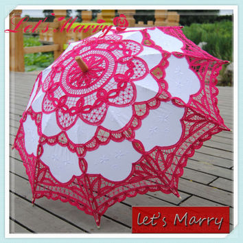 Vintage Rose Lace Embroidery Umbrella Cotton Battenburg Wedding Bridal Umbrella Parasol Umbrella Decoration Free Shipping